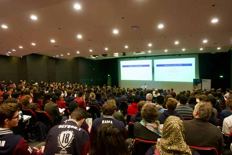 The crowded lecture hall at the 2018 Real World Maths in Action fair shows how popular the event really is.